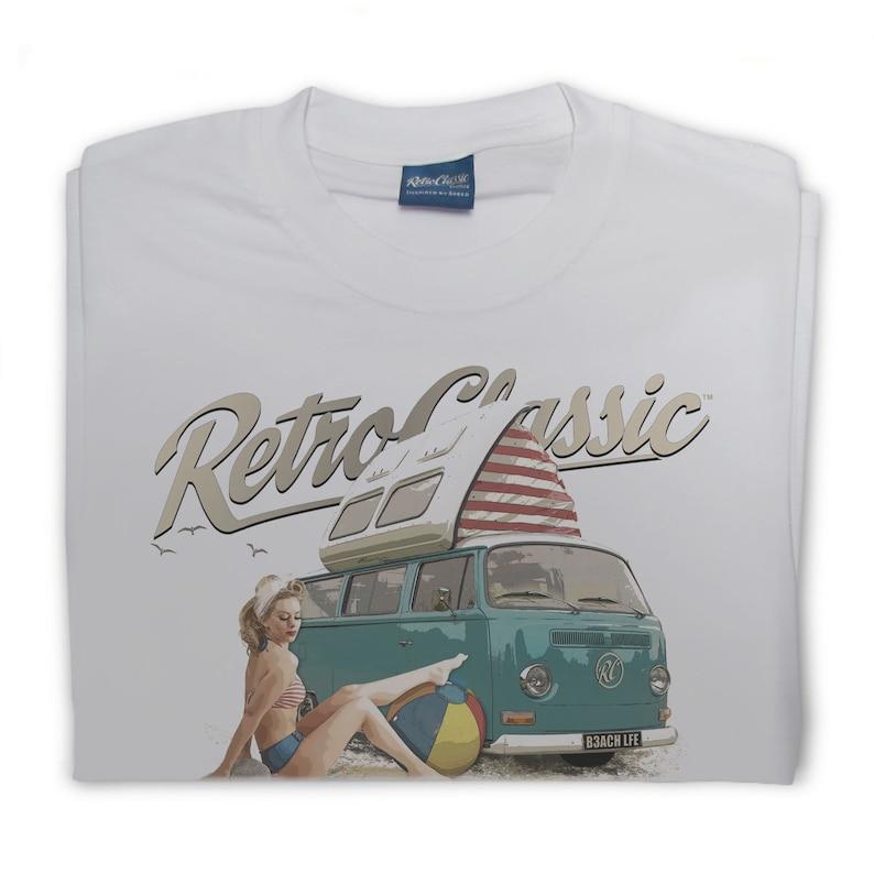 RetroClassic Beach Life Camper Van and Heather Valentine Mens T-Shirt