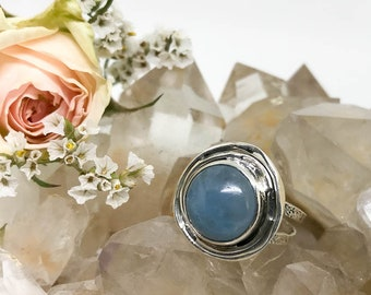 Aquamarine Sterling Silver Ring - The Stone for Courage