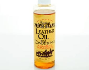 Montana Pitch Blend Leather Oil and Conditioner in an 8 ounce container, all natural leather conditioner .