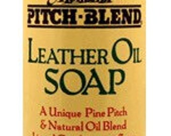 Montana Pitch Blend Leather Oil Soap, 8 ounce plastic bottle, all natural leather cleaner made in the USA.