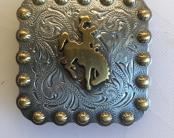 Bucking bronc two tone, nickel and brass western style metal concho. Screw back large size.