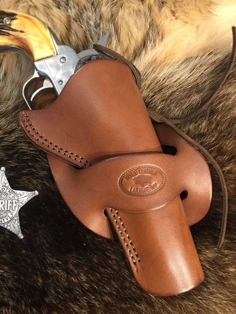 Cross draw western single action revolver holster, Wyoming made, leather,  fits 5 1/2