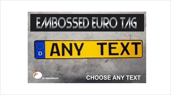 India Flag Euro European License Plate Number Plate Custom Embossed Alu