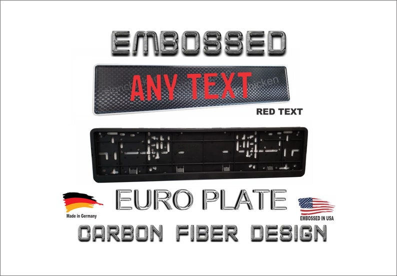 Euro tag Red text Embossed European License Plate euro CARBON FIBER DESIGN Custom Text
