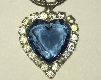 Cobalt Blue  Heart Pendant Necklace  w/ Rhinestone Frame