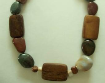 Lovely Quartz Rock & Wood Bead Necklace.