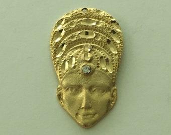 "VINTAGE  EGYPTIAN REVIVAL Gilded Gold Pendant by Carol Star  1 3/4"""