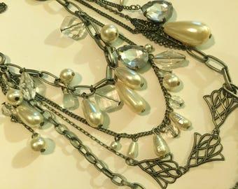 Delicate Faux pearl & rhinestone 3 Layer Chain necklace