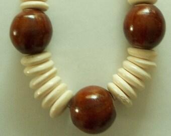 Chunky Vintage Ethnic Wood Necklace