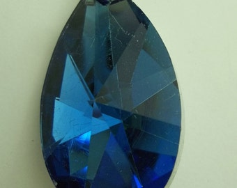 Cobalt Blue Glass Teardrop Pendant with 18K GP Clasp
