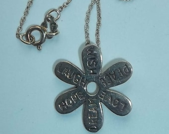 STERLING SILVER 925 peace love hope flower Necklace Pendant       # CC
