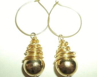 Vintage 80's Dangling Gold Hoop Gold Ball Earrings