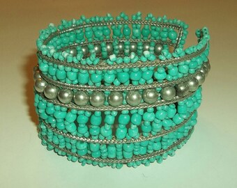 Wide Turquoise silver beaded Bracelet.