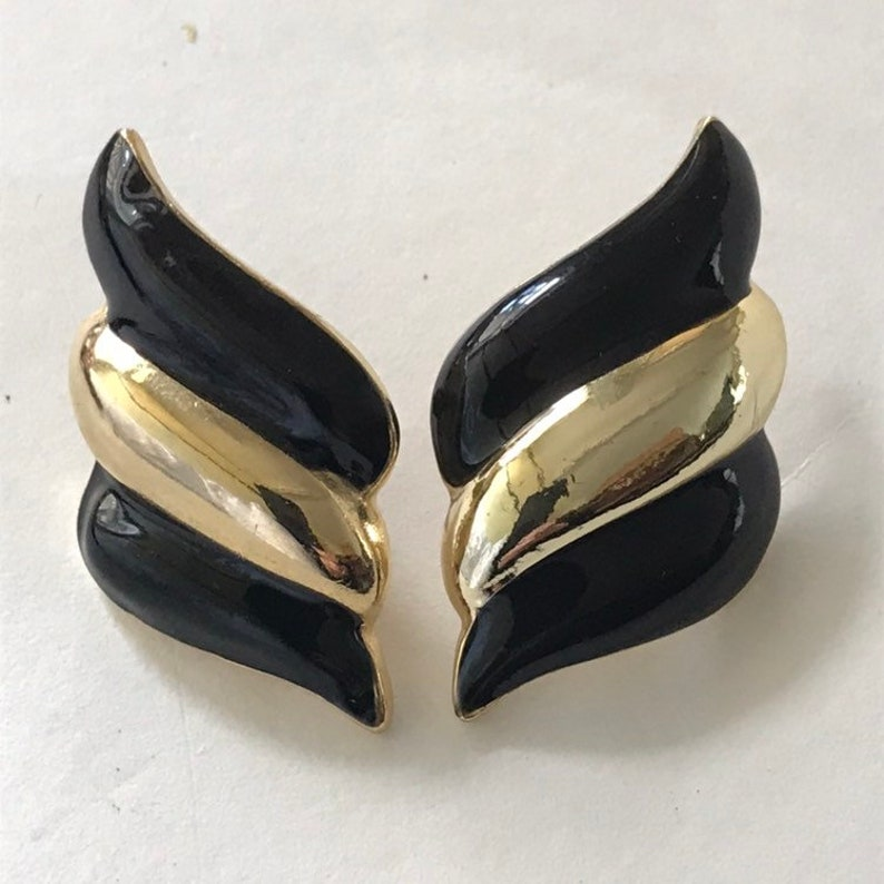 Vintage 90/'s  Large Black /& Gold  Earrings