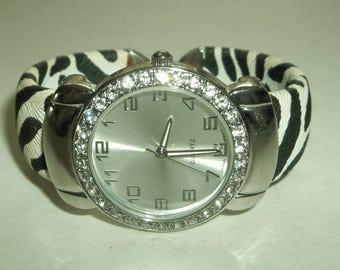 Zebra Print  Rhinestone CUFF Quartz Watch