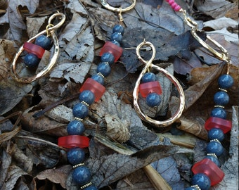 Star Gazing Navy Blue and Terra Cotta Goldstone OOAK Scottie Necklace and Earrings Set.