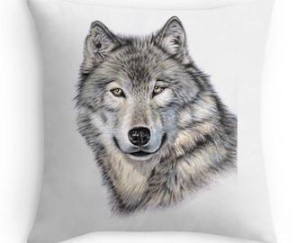 Wolf Pillow 40 x 40 cm - Drawing Siberian Wolf