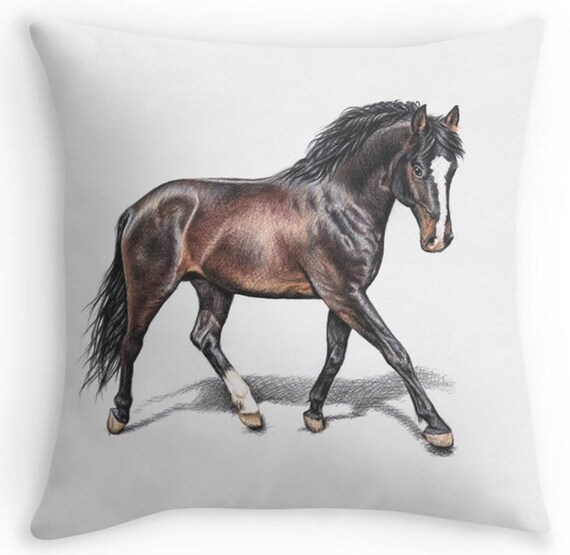 pferd kissen kissenbezug mit tollem bild hannoveraner pferd etsy. Black Bedroom Furniture Sets. Home Design Ideas