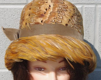 d31bed4a37333 Vintage Women s Feather Bucket Hat 1960s in Original Box