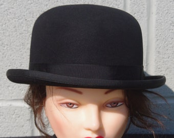 3b467aad810e0 Women s Vintage Bowler Hunt Derby Dressage Show Hat w Bun Strap ~ Steam  Punk Cosplay ~ Size 7
