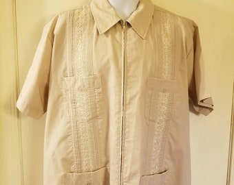 c6771485 Men's Vintage Zip Front Tan Haband Guayabera Shirt XL