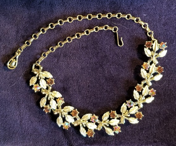 Cut Out Leaves Necklace with White Pearl Berries Gold Tone Signed Coro Vintage Mid Century