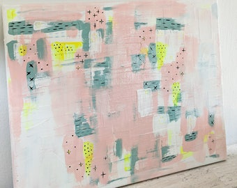 Abstract in Pink #2 Original Mixed Media Art Canvas