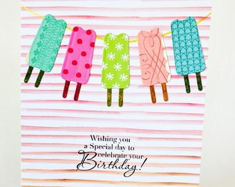 Popsicles Summer Birthday Handmade Card