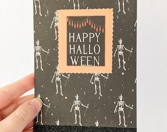 Happy Halloween Skeleton Card, Glittery Halloween Card