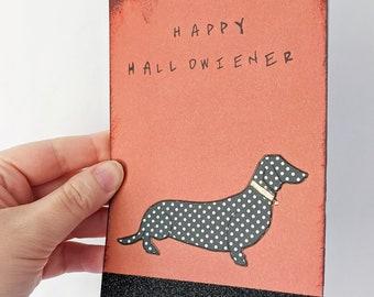 Happy Hallowiener Dachshund Card, Halloween Doxie Card