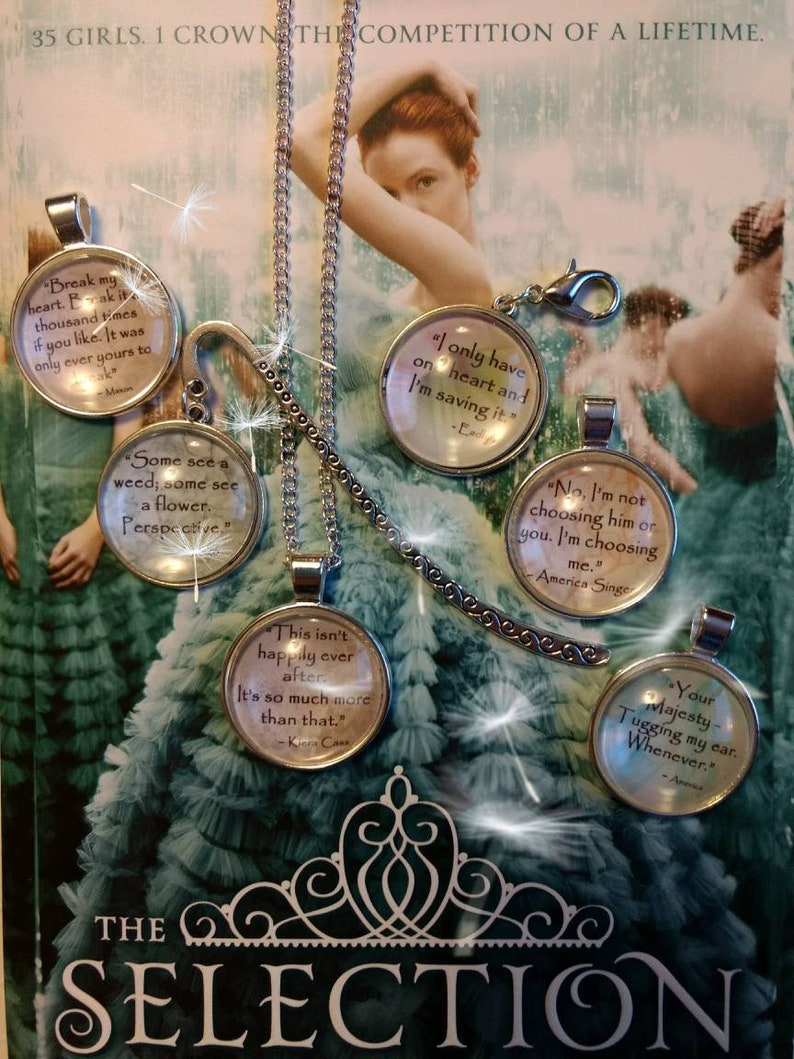 The Selection Series Quotes pendant necklaces and bookmarks image 0