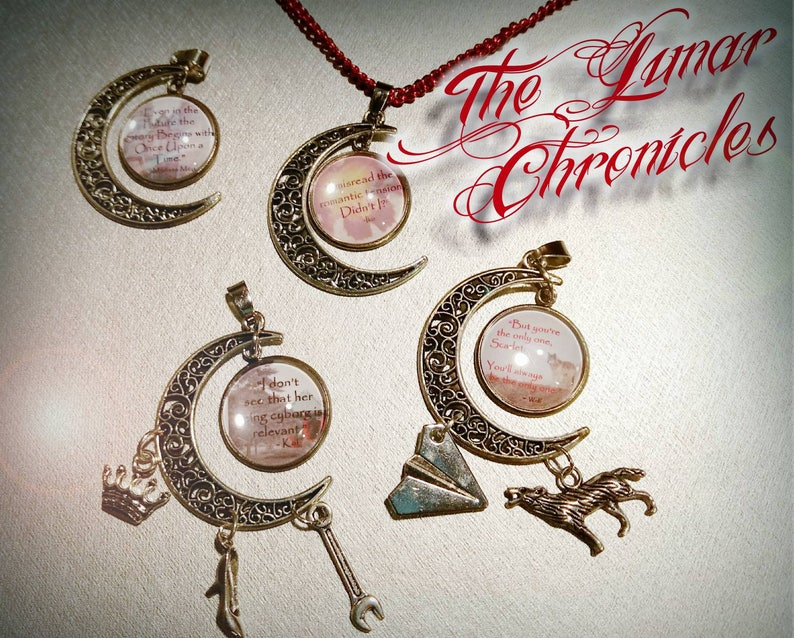 The Lunar Chronicles Quote Moon Pendant with/without charms image 0