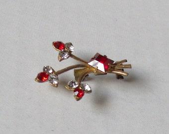 Vintage Little  Red Rhinestone Lapel Brooch, Vintage Scatter Pin