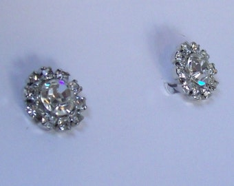 Vintage Flower Clear Crystal Rhinestone Earrings