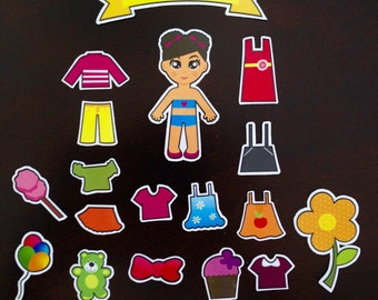 """Paper Doll Set """"Katy"""" - Magnetic Dress Up Doll Activity"""
