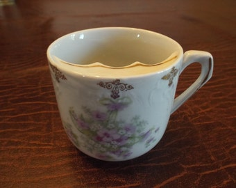 Hand Painted Purple Green and White  Gold top and Handle Moustache cup w Moustache, Gift for Man, Movie Prop, Stage Prop Beard cup
