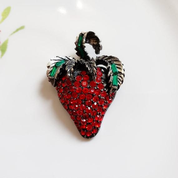 Pell Strawberry Brooch, Strawberry Fruit Pin