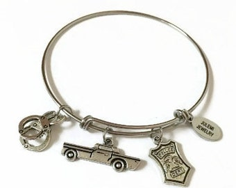 Supernatural Expandable Bracelet Police Officer Stacking Bracelet Police Charm Bangle Bracelet Super Natural Adjustable Bangle Bracelet