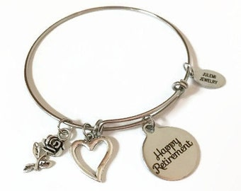 Happy Retirement Expandable Bracelet Retired Stacking Bracelet Retiree Charm Bangle Bracelet Retirement Adjustable Stainless Bracelet
