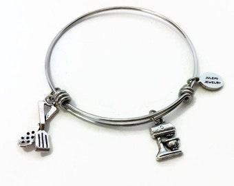 Cooking Expandable Bracelet Chef Stacking Bracelet Cook Charm Bangle Baker Bracelet Chef Bangle Adjustable Stacking Bangle Baking Bracelet