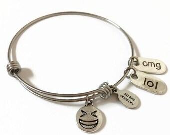 Big Grin Emoji Expandable Bracelet Emoji Bracelet Emoji Charm Bangle Adjustable Closed Eyes Smile Emoji Steel Stacking Wire Bangle Bracelet