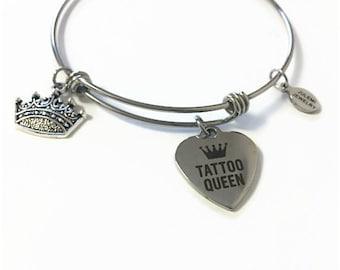 Tattoo Queen Expandable Bracelet Tattoo Lover Bangle Bracelet Tattoo Charm Bangle Tattoo Queen Adjustable Stainless Steel Charm Bracelet