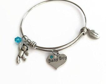 Baby Boy Expandable Bangle It's a Boy Bangle Bracelet New Mom Charm Bracelet Baby Boy Adjustable Stacking Wire Bangle Baby Son Bracelet