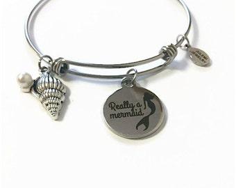 Really a Mermaid Expandable Bracelet Mermaid Adjustable Charm Bangle Mermaid Stacking Bangle Mermaid Charm Bracelet Mermaid Bracelet