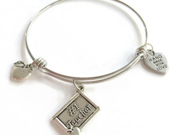 Teacher Expandable Bracelet Apple Charm Bangle #1 Teacher Expandable Bangle Stainless Steel Bracelet Adjustable Wire Bangle Charm Bracelet