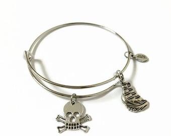 Pirate Ship Expandable Bracelet Pirate Ship Wire Stacking Bracelet Pirate Charm Bangle Skull and Crossbones Adjustable Wire Bracelet (SP17)