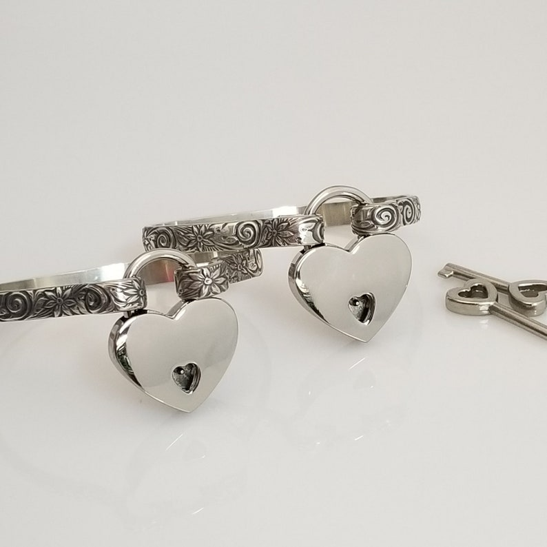 BDSM Submissive Locking and Discreet Day Handcuff Bracelets Made To Order #8838 Wedding Jewelry Wild Flower Sterling Silver