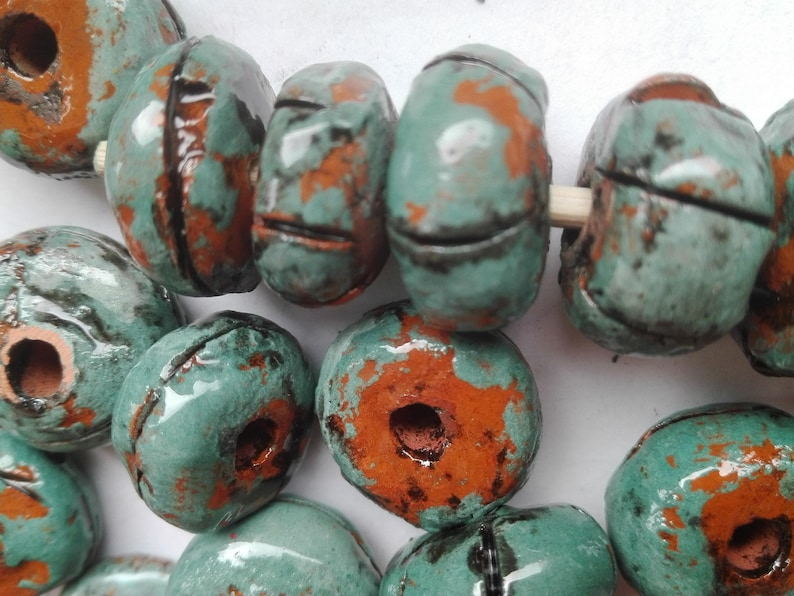 Ceramic Beads   Turquoise Tube  Vintage beads   Artisan Beads Clay Pottery 38