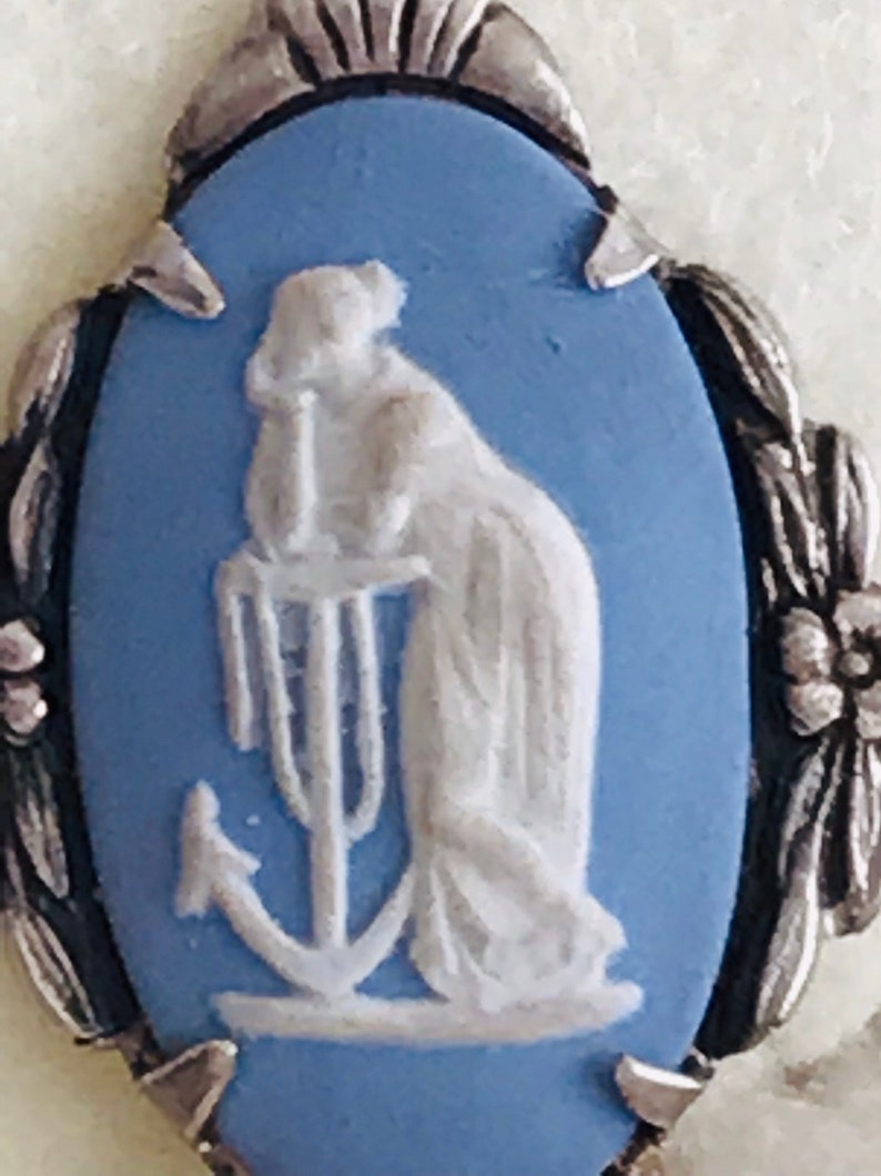 Antique 1920/'s sterling silver WedgeWood porcelain intaglio screw back earrings In fantastic condition ready  to wear out Subtle patina