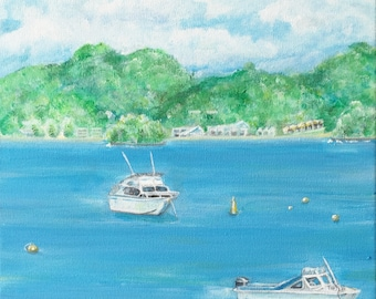 Boats In The Bay Original Painting and Display Easel